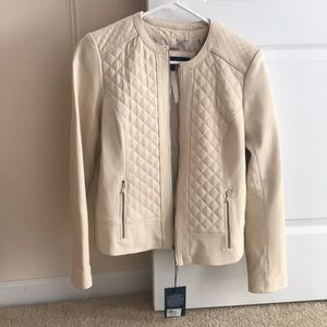 Cole Haan Cream Real Leather Jacket